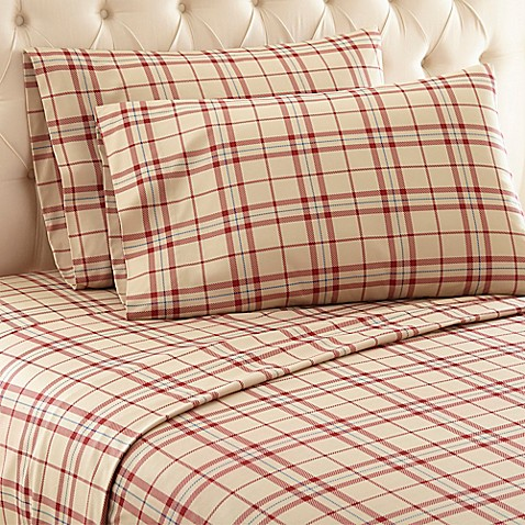 Buy Micro Flannel 174 Carlton Plaid Twin Sheet Set In Tan