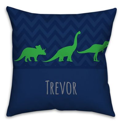 Chevron Dinosaur Square Throw Pillow in Blue and Green - Bed Bath & Beyond