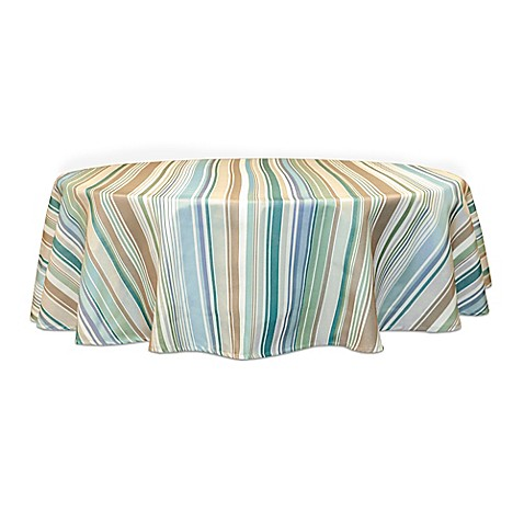 Buy ava stripe 70 inch round tablecloth from bed bath beyond for Table linens 52 x 70