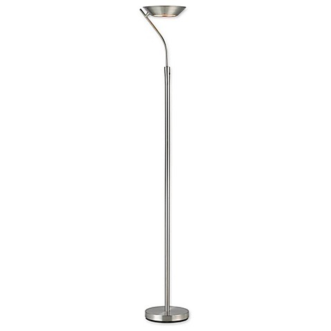Adessor saturn satin steel torchiere floor lamp bed bath for Adesso remote control torchiere floor lamp
