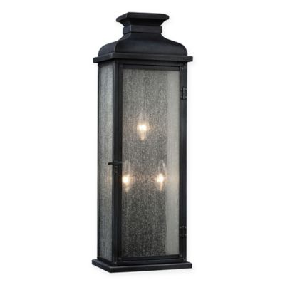Buy Feiss Pediment Medium 3-Light Outdoor Sconce in Zinc from Bed Bath & Beyond