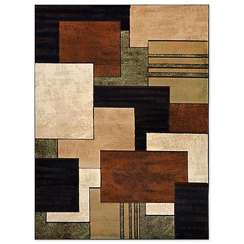 Home Dynamix Tribeca Box Area Rug In Brown Green Bed