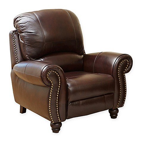 Buy abbyson living charlotte leather recliner in burgundy for Abbyson living sedona leather chaise recliner