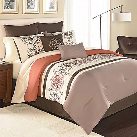 Yasmine Spice Embroidered Comforter Set Bed Bath Amp Beyond