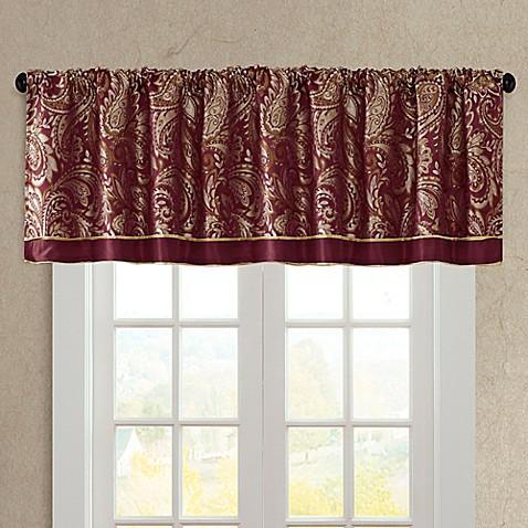 Madison Park Aubrey Window Valance In Burgundy Bed Bath