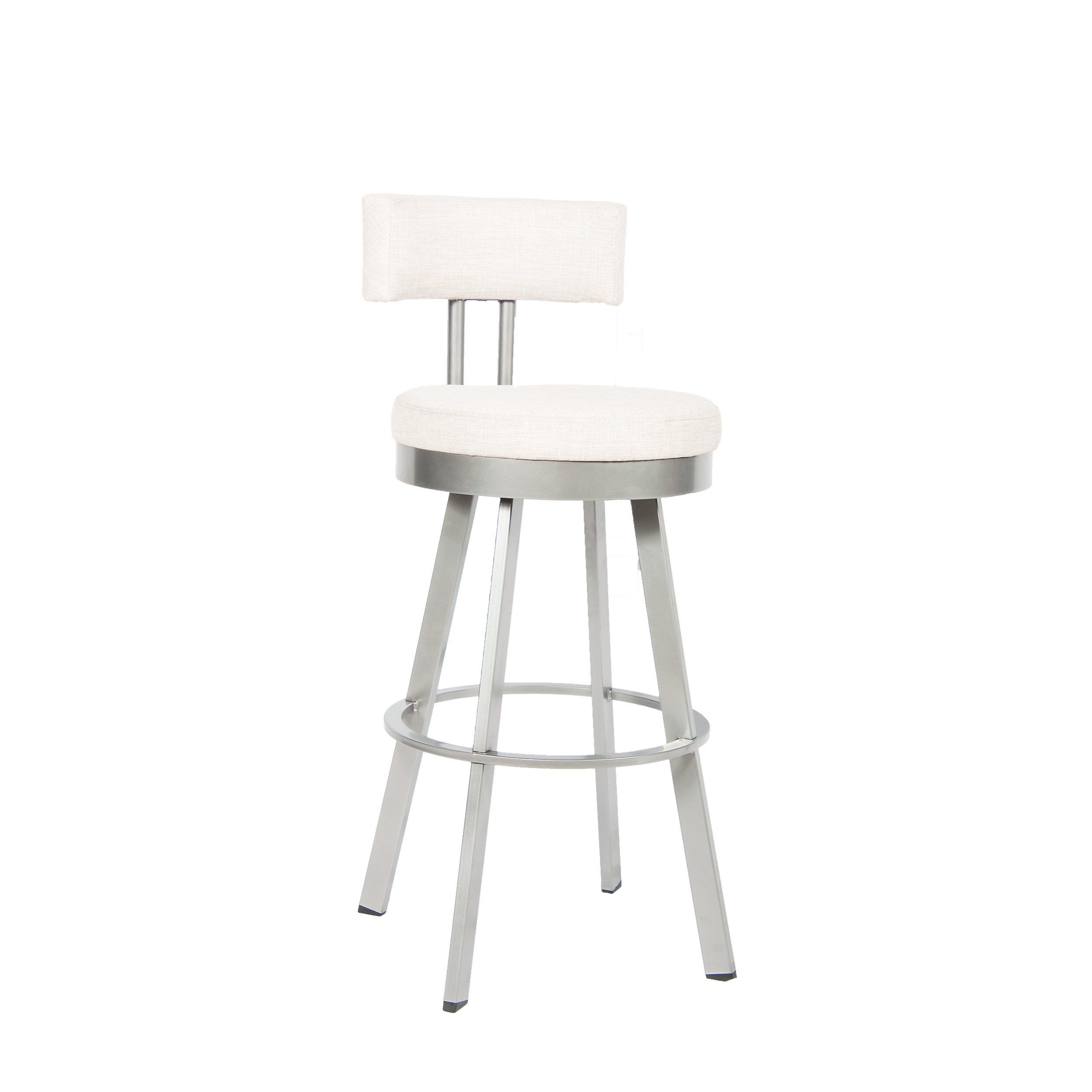 White Padded Bar Stool With Back Non Swivel Bar Stool