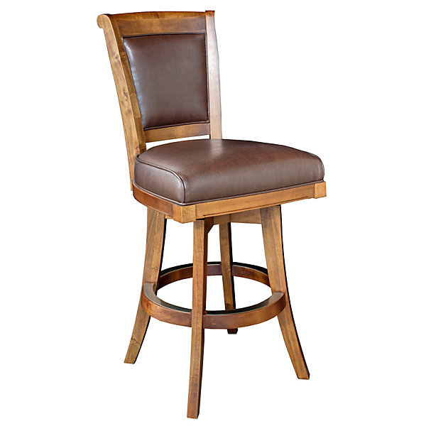Brown Leather Bar Stool Wooden Swivel Bar Stool With Back