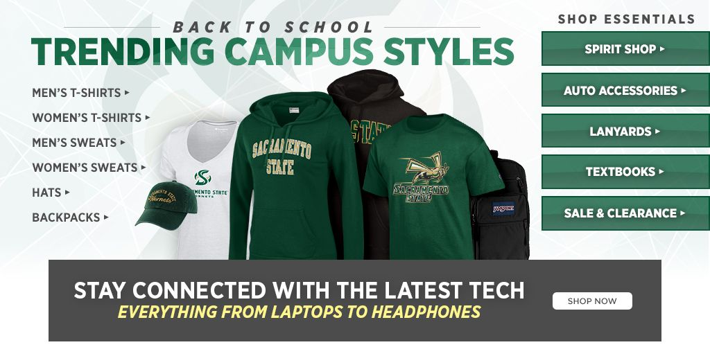 Back to school, trending campus styles. Shop men's t-shirts, shop women's t-shirts, shop backpacks, shop hats. Shop essentials. Shop spirit, shop auto accessories, shop lanyards, shop textbooks, shop sale & clearance.