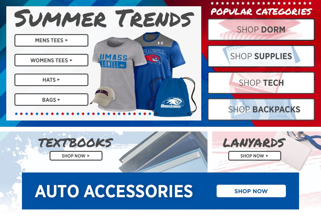 Summer Trends. Shop Mens Tees, Womens Tees, Hats and Bags. Popular Categories. Shop Dorm, Supplies, Technology, and Backpacks. Textbooks Shop Now. Lanyards Shop Now. Auto Accessories Shop Now.