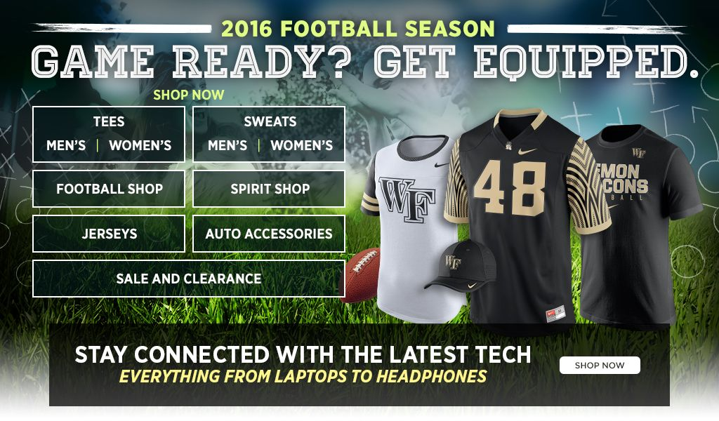 2016 Football Season.  Game Ready? Get Equipped. Men's Tees, Shop Now. Women's Tees, Shop Now. Men's Sweats, Shop Now. Women's Sweats, Shop Now.  Football Shop, Shop Now. Spirit Shop, Shop Now. Jerseys, Shop Now. Auto Accessories, Shop Now. 25% off Clearance, Shop Now.