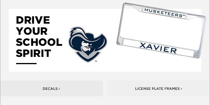 Xavier University License Plate Frames, Car Decals, and Stickers