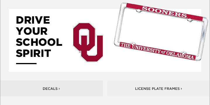 OU License Plate Frame   Oklahoma Sooners Decals & Car Mats