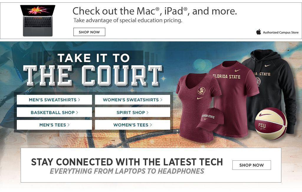 Check out the Mac, iPad, and more. Take It To The Court. Men's Tees, Shop Now. Women's Tees, Shop Now. Men's Sweats, Shop Now. Women's Sweats, Shop Now.  Basketball Shop. Shop Now. Spirit Shop. Shop Now. Jerseys, Shop Now. Auto Accessories, Shop Now.