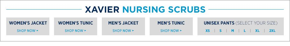 Xavier nursing scrubs. Shop Women's Jacket, Shop women's tunic, shop men's jacket, shop men's tunic, unisex pants - select your size.XS, S, M, L, XL, 2XL.