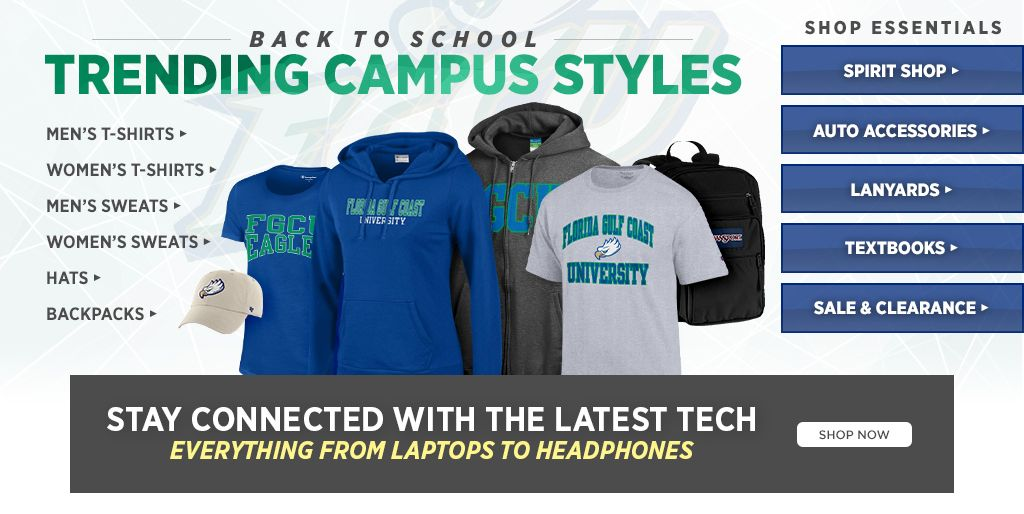 Back to school, trending campus styles. Shop men's t-shirts, shop women's t-shirts, shop backpacks, shop hats. Shop essentials. Shop spirit, shop auto accessories, shop lanyards, shop textbooks, shop sale & clearance.