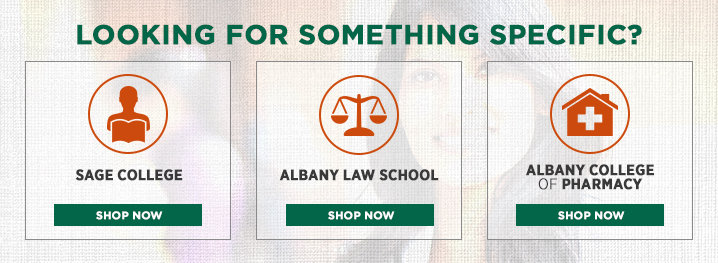 Image of woman. Looking for something specific. Shop Sage College. Shop Albany Law School. Shop Albany College of Pharmacy.