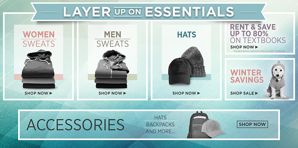 New Year New Start! Shop Mens Sweats, Womens Sweats, Hats, Textbooks and Sale.