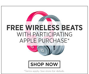Free wireless Beats with participating Apple purchase. Click here to shop now. Terms apply. See store for details.