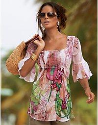 Floral peasant tunic shirt. > Boston Proper > bostonproper.com