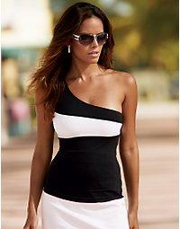 One-shoulder color-block knit top. > Boston Proper > bostonproper.com