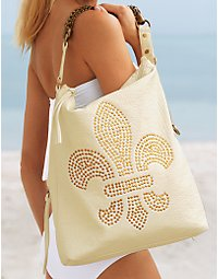 Fleur-de-lis studded bag.