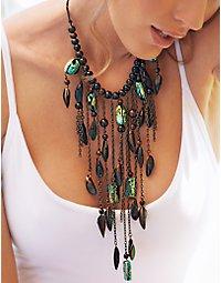 Cascading wood & turquoise necklace. > Boston Proper > bostonproper.com