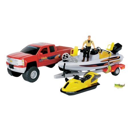 Cabela 39 s chevy silverado bass fishing boat playset for Cabela s fishing boats