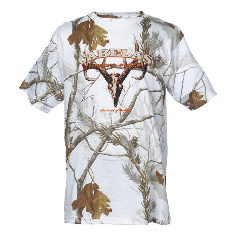 Cabela's Alpha Snow Camo Short Sleeve Tee Shirt