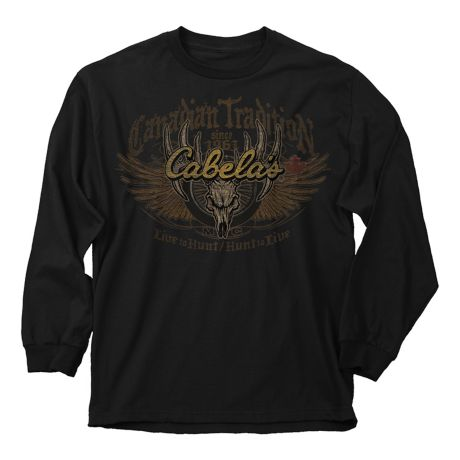 Buck Wear Cabela's Canadian Tradition Skull Long Sleeve Tee Shirt