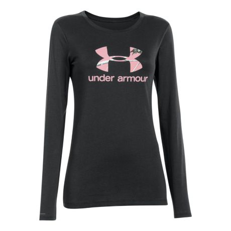 Under armour women 39 s camo logo long sleeve tee shirt for Under armour shirts canada