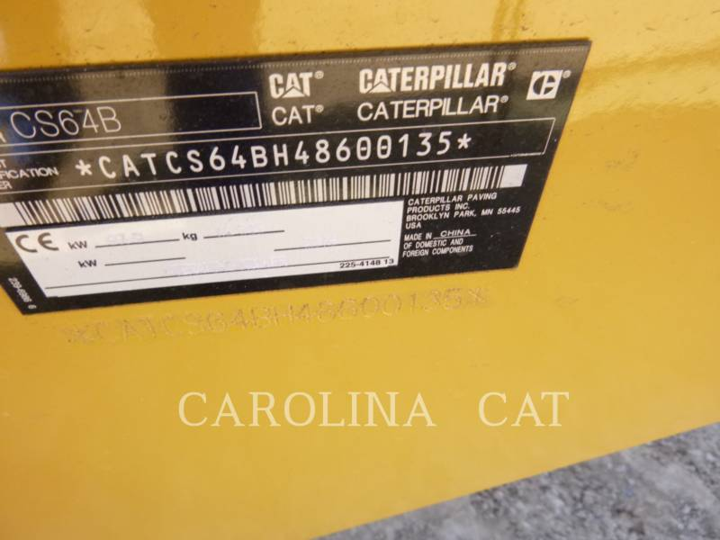 CATERPILLAR COMPACTEUR VIBRANT, MONOCYLINDRE LISSE CS64B CB equipment  photo 8