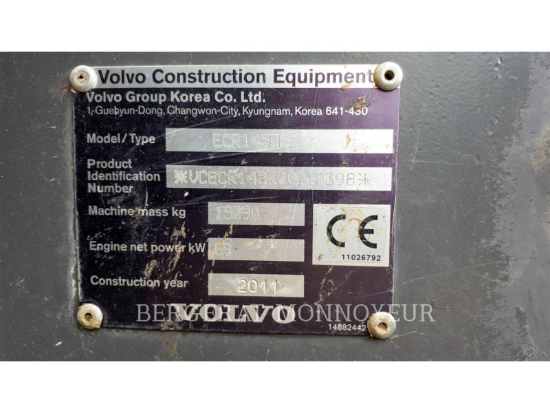 VOLVO CONSTRUCTION EQUIPMENT EXCAVADORAS DE CADENAS ECR145CL equipment  photo 8