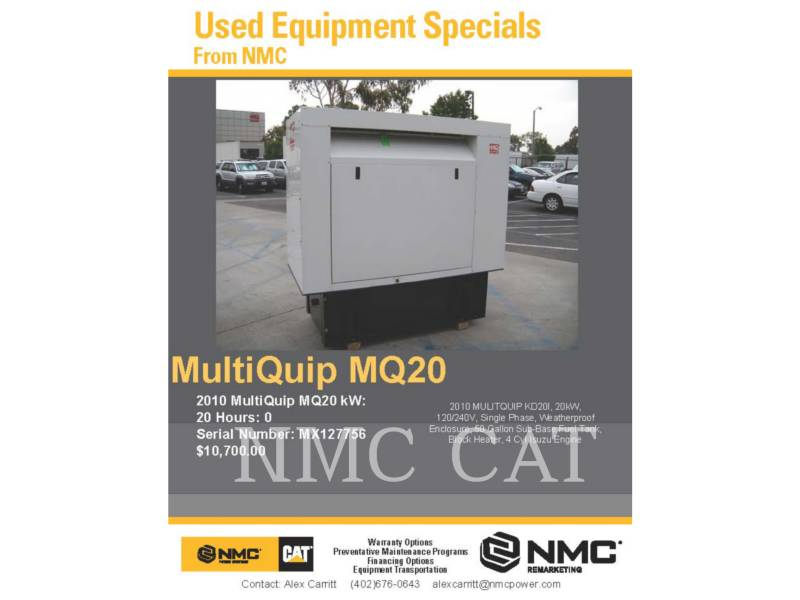 MULTIQUIP STATIONARY GENERATOR SETS MQ20 equipment  photo 2