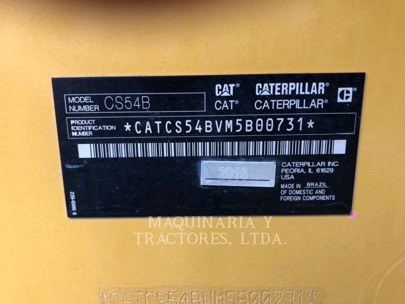 CATERPILLAR VIBRATORY SINGLE DRUM SMOOTH CS54BLRC equipment  photo 5