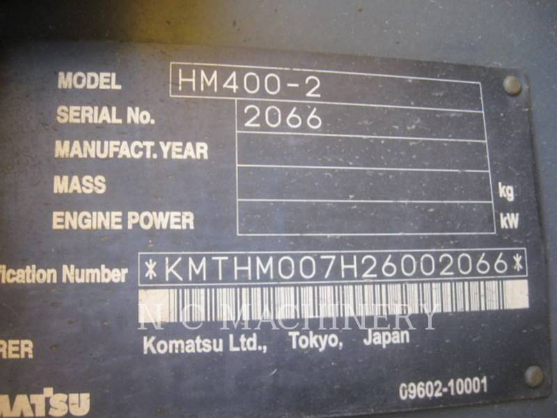 KOMATSU TOMBEREAUX DE CHANTIER HM400-2 equipment  photo 5