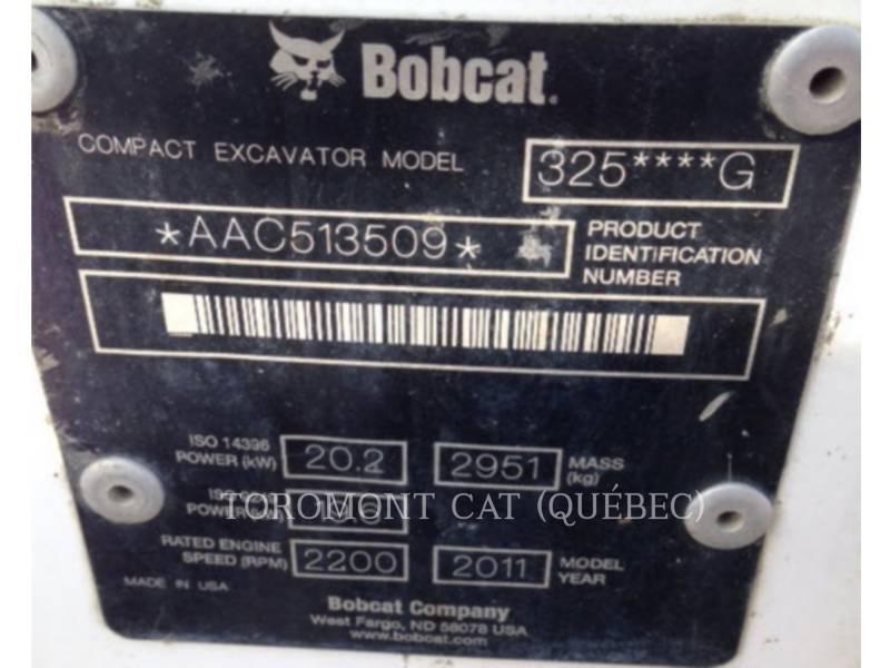 BOBCAT KOPARKI GĄSIENICOWE 325 equipment  photo 15