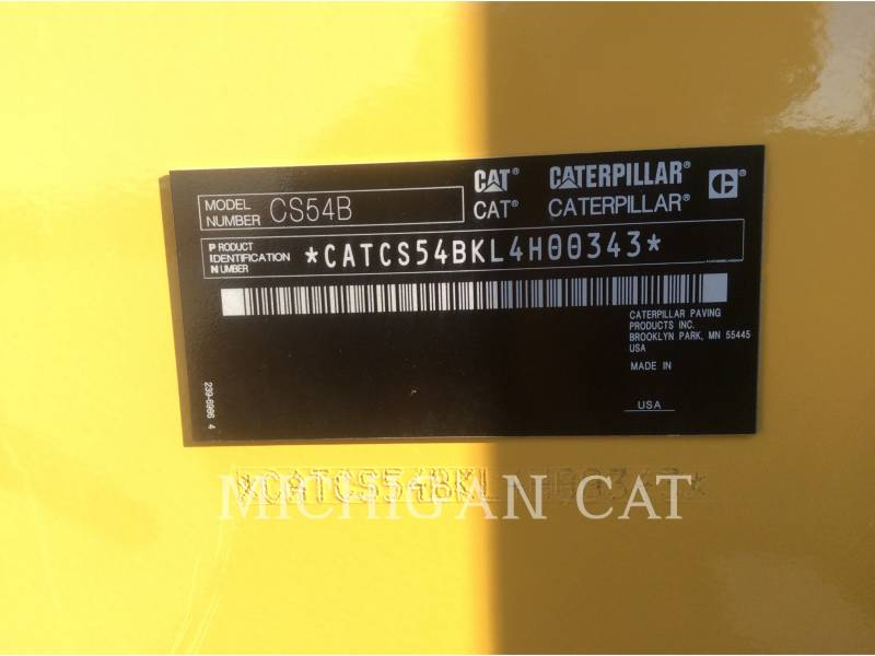 CATERPILLAR VIBRATORY SINGLE DRUM SMOOTH CS54B equipment  photo 23