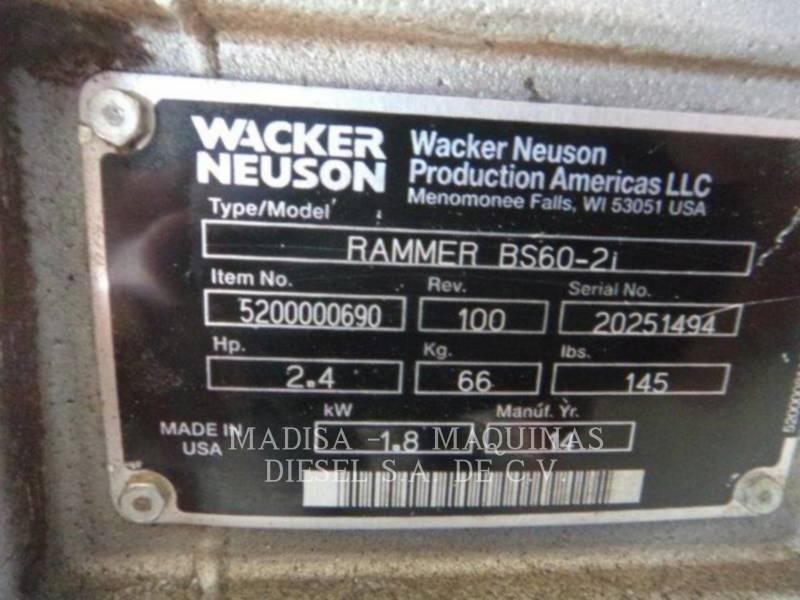 WACKER CORPORATION HERRAMIENTA DE TRABAJO - COMPACTADOR DE PLANCHA VIBRATORIA BS60-2I equipment  photo 5