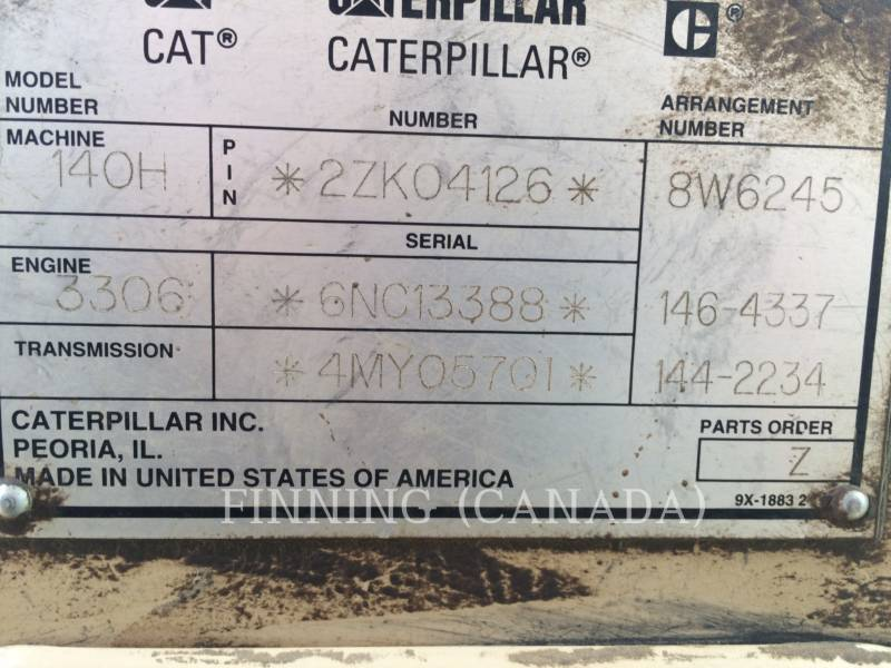 CATERPILLAR MOTORGRADER 140HNA equipment  photo 7