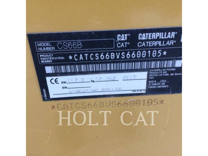 CATERPILLAR VIBRATORY SINGLE DRUM PAD CS66B CAB equipment  photo 4