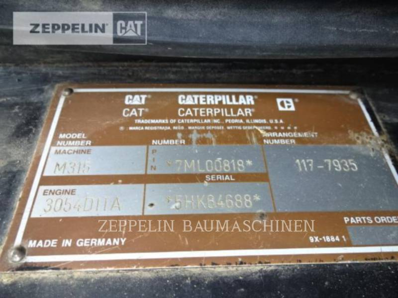CATERPILLAR PELLES SUR PNEUS M315 equipment  photo 11