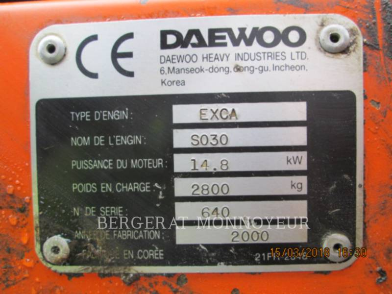 DAEWOO EXCAVADORAS DE CADENAS S030 equipment  photo 8