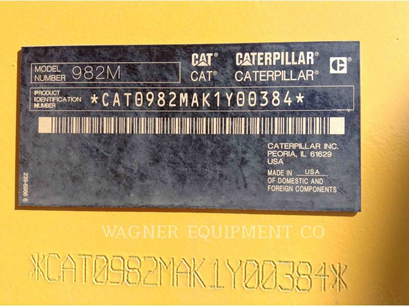 CATERPILLAR CARGADORES DE RUEDAS 982M equipment  photo 5