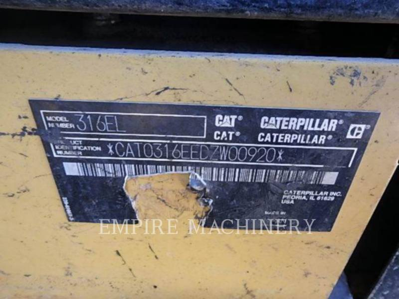 CATERPILLAR KETTEN-HYDRAULIKBAGGER 316EL equipment  photo 5