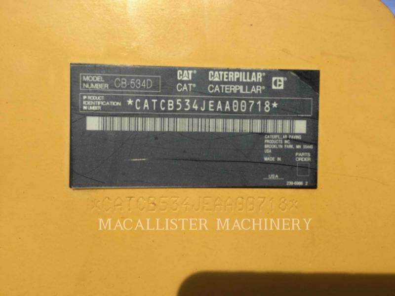 CATERPILLAR VIBRATORY DOUBLE DRUM ASPHALT CB-534DXW equipment  photo 6