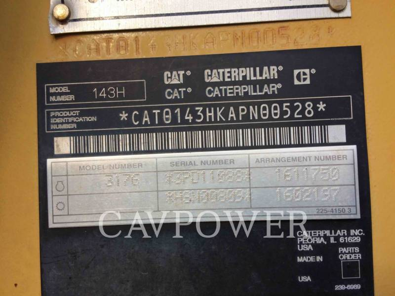 CATERPILLAR MOTORGRADERS 143H equipment  photo 5