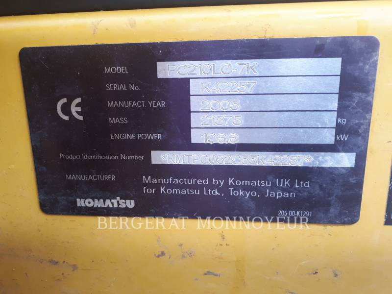 KOMATSU EXCAVADORAS DE CADENAS PC210 equipment  photo 3