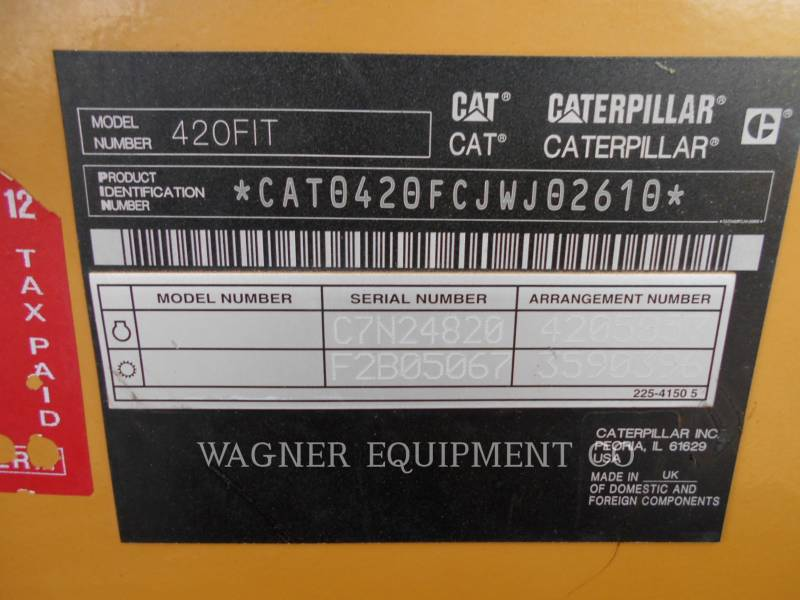 CATERPILLAR BACKHOE LOADERS 420F IT4WE equipment  photo 5