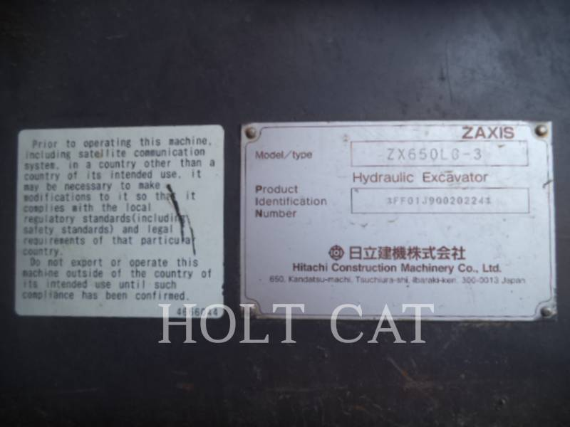 HITACHI ESCAVATORI CINGOLATI ZX650-3 equipment  photo 15