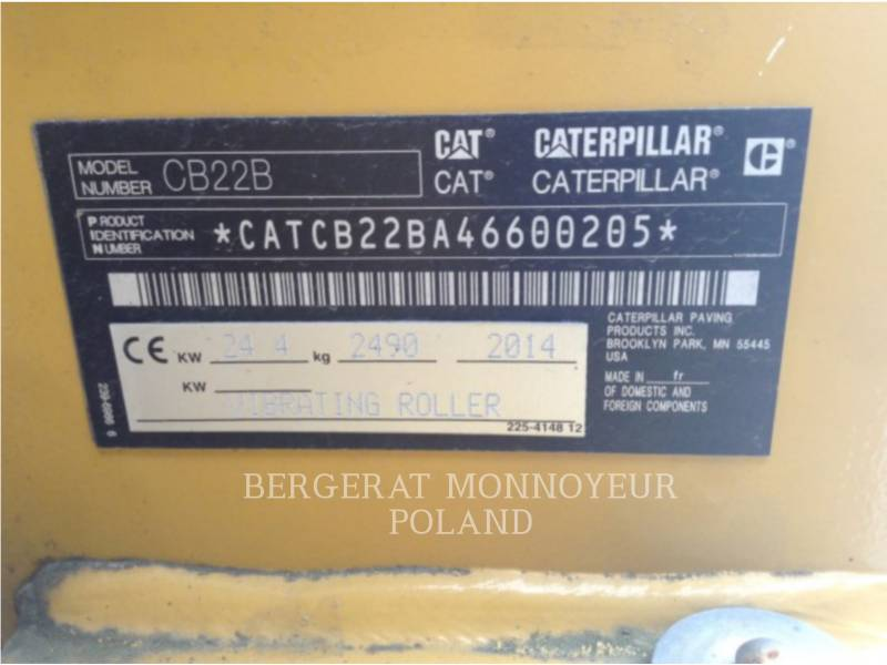 CATERPILLAR TAMBOR DOBLE VIBRATORIO ASFALTO CB22BLRC equipment  photo 3